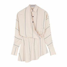 Palmer//harding Mirror Blush Striped Draped Shirt