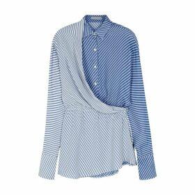 Palmer//harding Mirror Pinstriped Draped Shirt