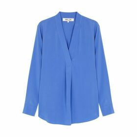 Diane Von Furstenberg Sanorah Powder Blue Silk Top