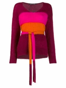 Luisa Cerano belted colour block sweater - Red