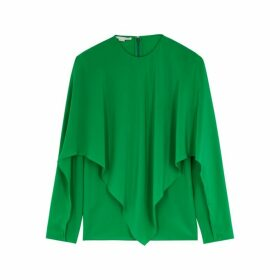 Stella McCartney Green Draped Silk Top