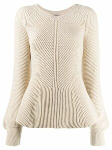 Alberta Ferretti peplum long-sleeve jumper - Neutrals