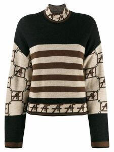 Alberta Ferretti stripe colour-block sweater - Neutrals