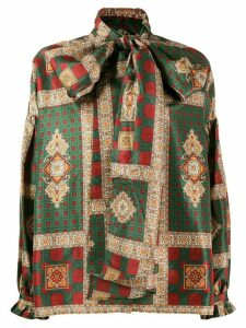 Etro oversized pussy bow blouse - Green