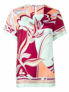 Emilio Pucci Mirei Print Silk Short Sleeved Top - PINK