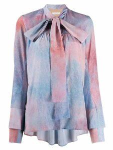 Ssheena pussy-bow tie-dye blouse - Blue