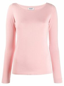 LIU JO fitted round neck jumper - PINK