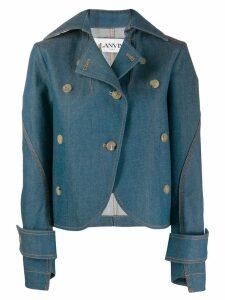 LANVIN asymmetric cut denim jacket - Blue