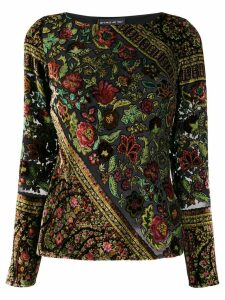 Etro embroidered floral blouse - Black