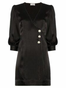 GANNI wrap-front mini dress - Black