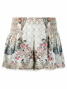 Camilla floral flared shorts - NEUTRALS