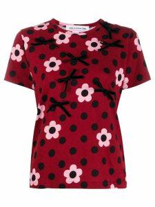 Comme Des Garçons Girl floral polka dot T-shirt - Red