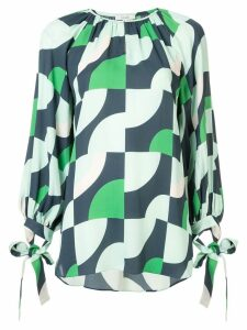 Layeur geometric long-sleeve blouse - Green