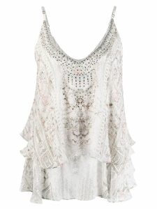 Camilla printed layered top - NEUTRALS