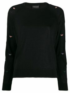 Emporio Armani logo patterned jumper - Black