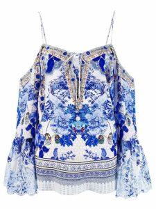 Camilla off shoulder floral blouse - Blue
