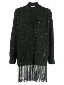 Brunello Cucinelli sequin fringe cardigan - Black