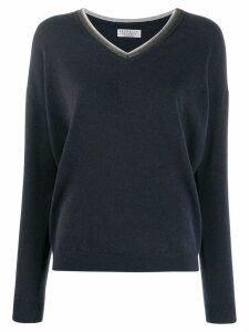 Brunello Cucinelli embellished V-neck cashmere jumper - Blue