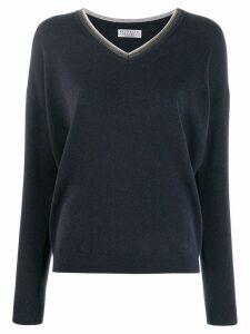 Brunello Cucinelli embellished V-neck cashmere jumper - Blue
