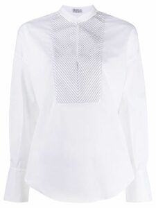 Brunello Cucinelli embellished bib shirt - White