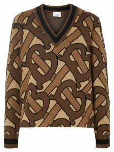 Burberry Monogram Intarsia Wool V-neck Sweater - Brown