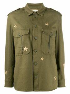 Saint Laurent star patch military shirt - Green