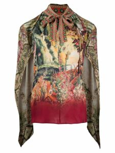 Etro printed tie front tunic - Red