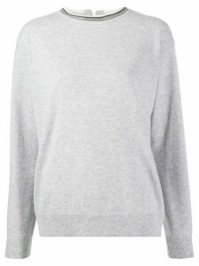 Brunello Cucinelli embellished crew-neck jumper - Grey