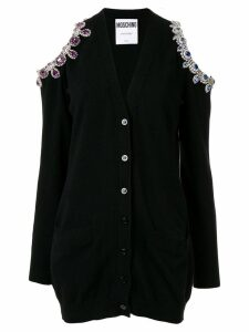 Moschino bejeweled cold shoulder cardigan - Black
