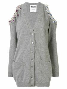 Moschino cold-shoulder embellished cardigan - Grey