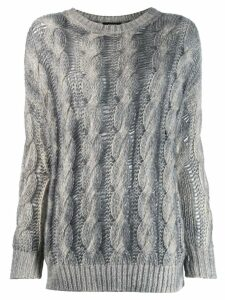 Avant Toi two-tone cable knit sweater - Grey