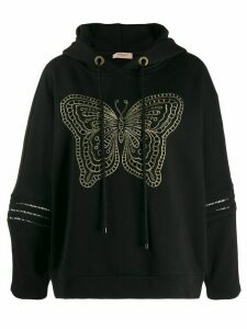 Twin-Set butterfly hoodie - Black