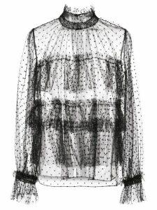 Adam Lippes polka dot tulle blouse - Black