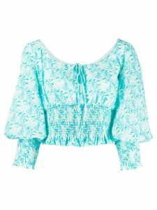 Rixo puffed sleeve blouse - Blue
