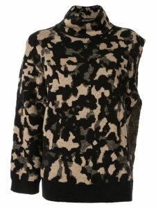 Ports 1961 camouflage one sleeve sweater - Black
