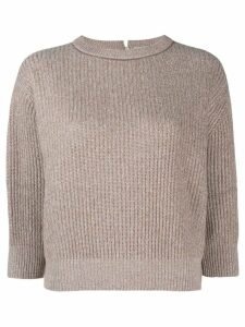 Brunello Cucinelli knitted cropped sweatshirt - Brown