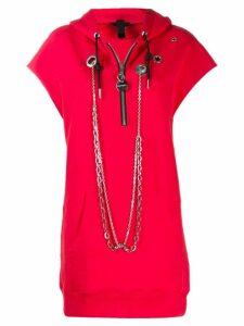 Diesel chain embellished hoodie - Red
