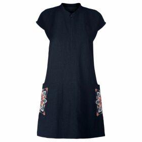 GISY - Amsterdam Spring Mandala Embroidered Raw Silk Shift Dress