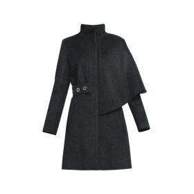 Rumour London - Mayfair Asymmetric Charcoal Wool Blend Coat