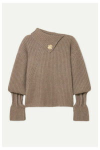 JW Anderson - Embellished Ribbed Wool And Cashmere-blend Turtleneck Sweater - Brown