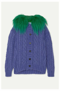 Prada - Faux Fur-trimmed Cable-knit Mohair-blend Cardigan - Purple
