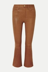 FRAME - Le Crop Mini Boot Leather Pants - Light brown