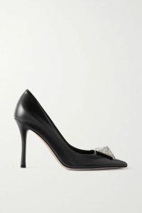 Max Mara - Farasio Crystal-embellished Satin-crepe Dress - Black