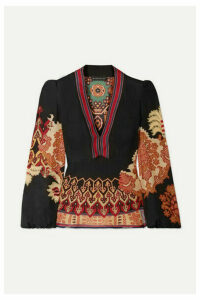 Etro - Printed Silk-crepe Top - Black