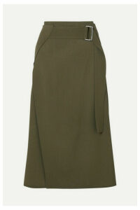 Victoria Beckham - Belted Wrap-effect Wool-twill Midi Skirt - Army green