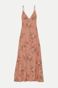 Reformation - Modena Open-back Floral-print Georgette Maxi Dress - Antique rose