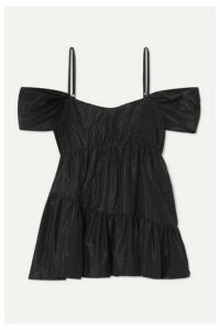 Simone Rocha - Cold-shoulder Gathered Taffeta Top - Black