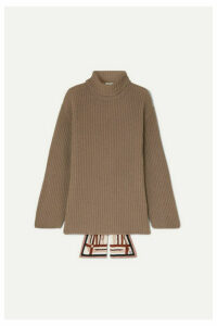 Fendi - Silk-trimmed Ribbed Cashmere Turtleneck Sweater - Mushroom