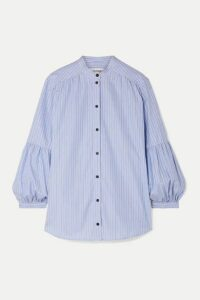 Cefinn - Striped Cotton Oxford Shirt - Light blue
