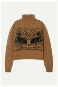 ALEXACHUNG - Cropped Intarsia Wool Turtleneck Sweater - Camel
